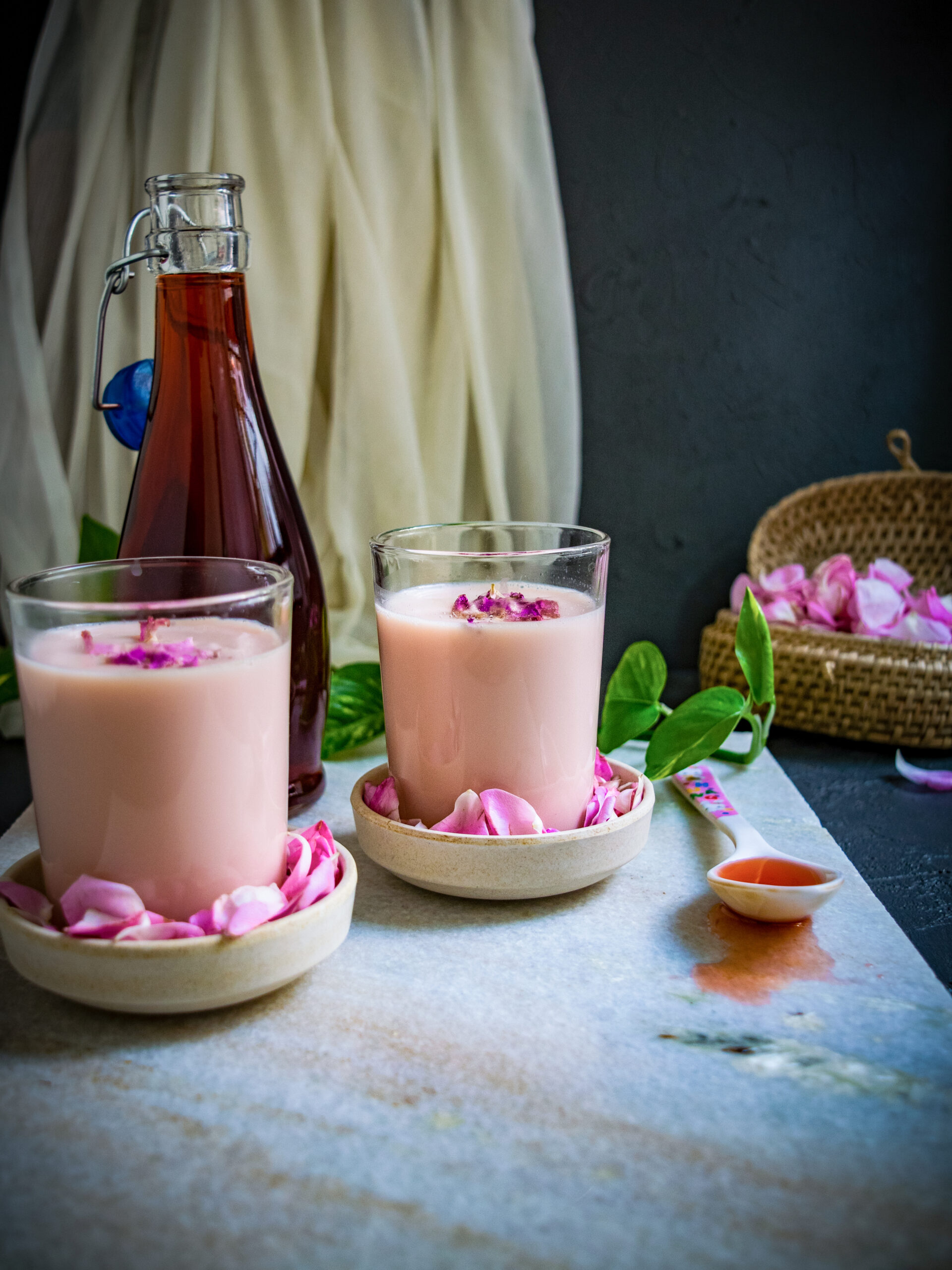 rose milk using homemade syrup