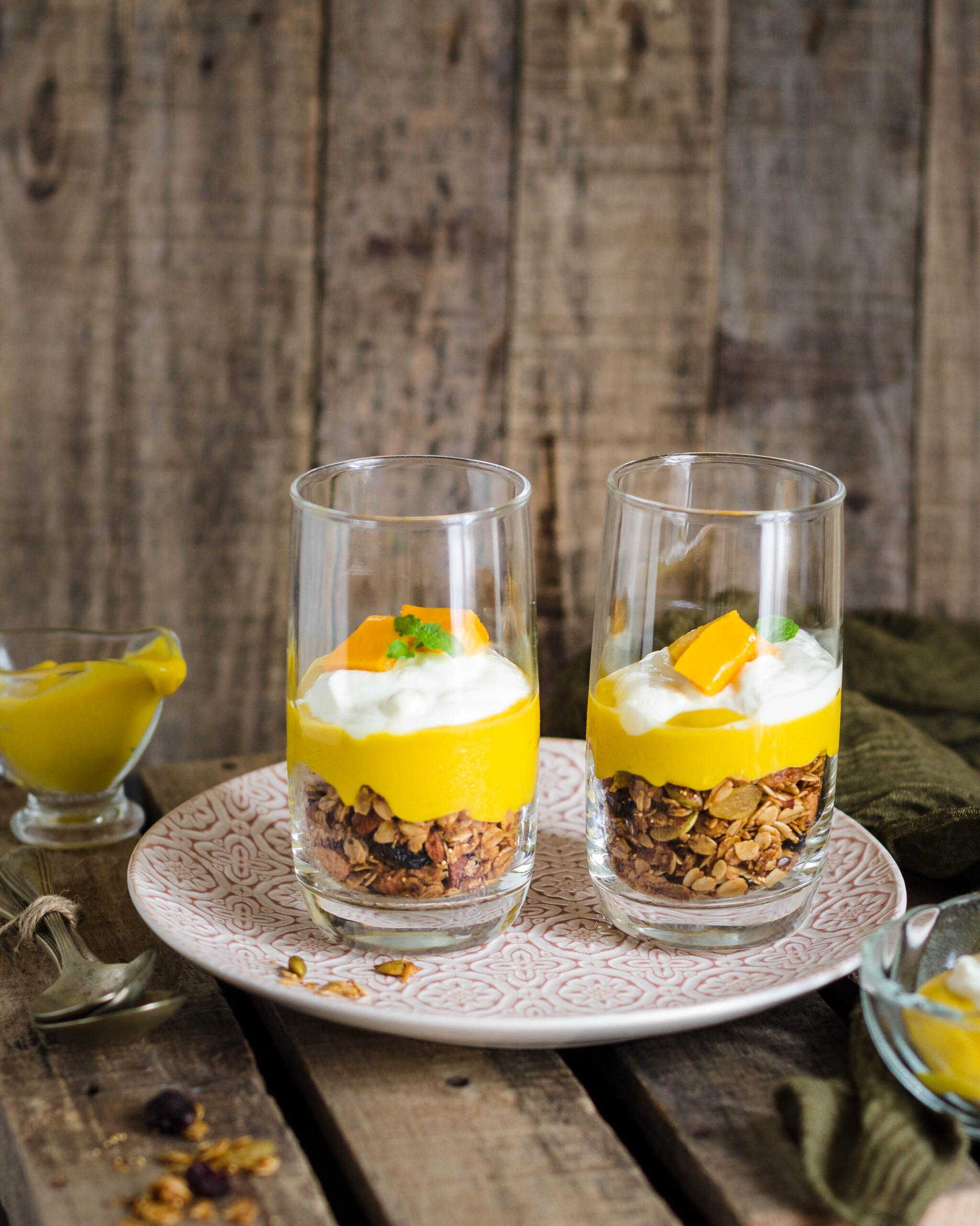 granola, easy granola recipe, healthy granola recipe, mango curd granola breakfast, mango curd, granola breakfast bowl