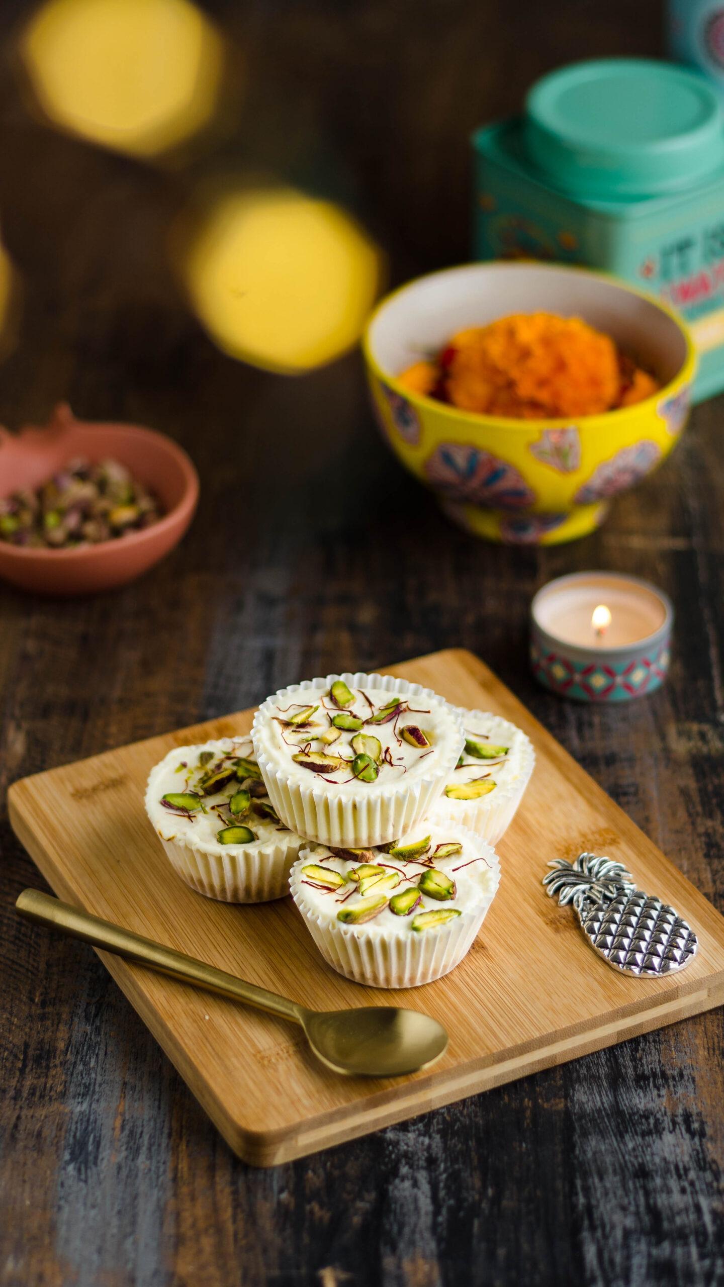 Mini saffron cheesecake - Indian sweet