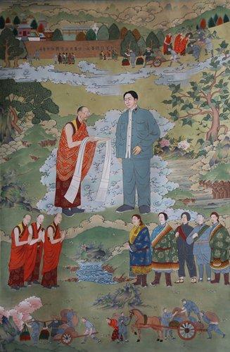 Mao zedong in Tibetan Buddhist thangka