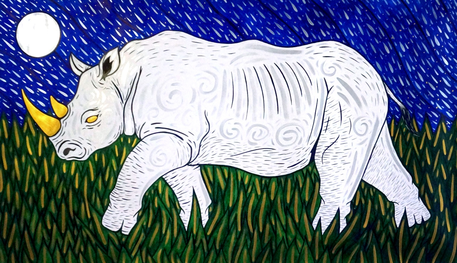 An ink painting of a Northern white rhino