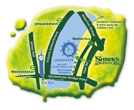 shrek's adventure london map - one epic road trip