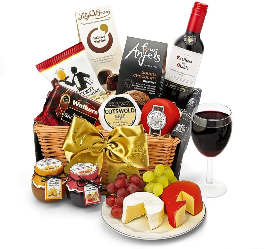 Downton Hamper With Red Wine - Hand Wrapped Gourmet Food Basket, in Gift Hamper Box