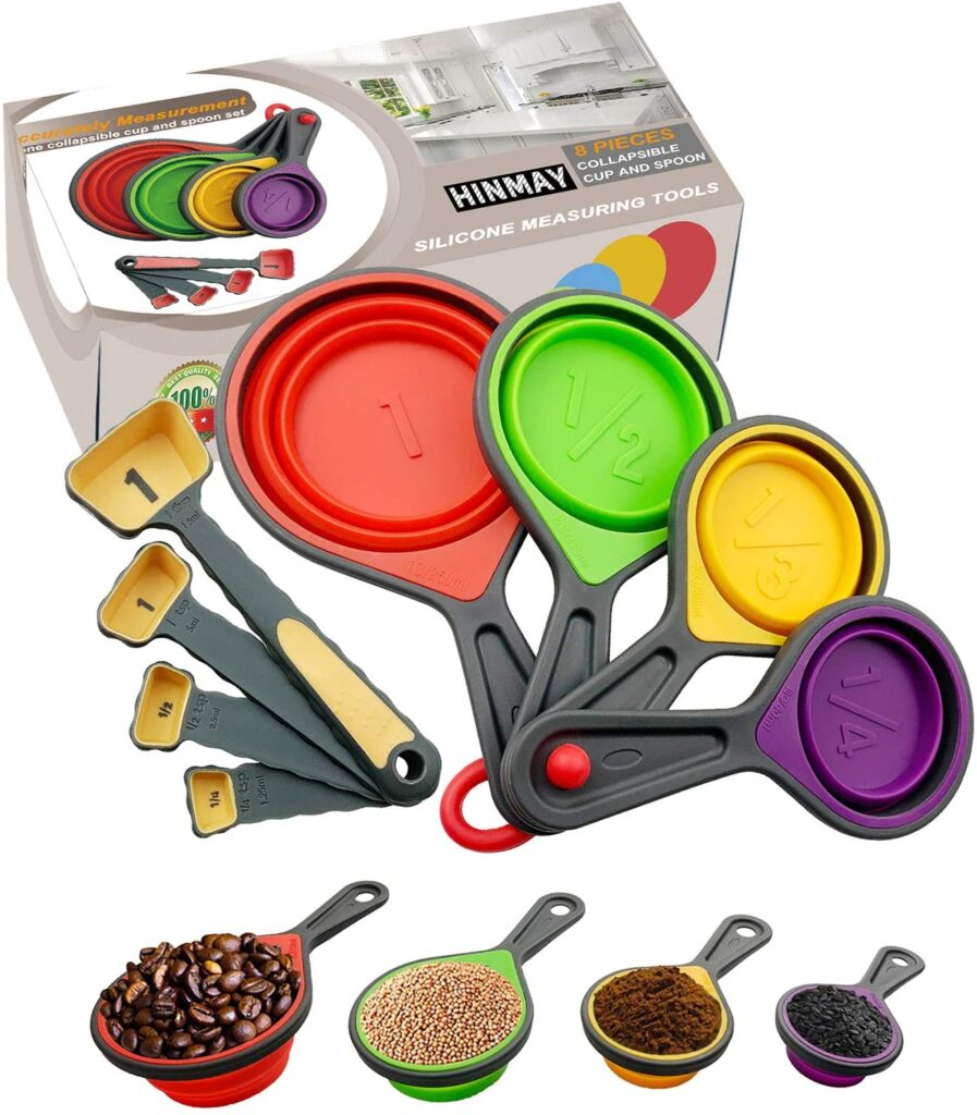 Gifts for foodies and cooks HINMAY Silicone Collapsible Measuring Cup and Spoon Set, Set of 8