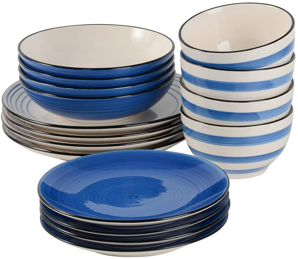 Best Gifts for Foodies, Cooks and Foodstagrammers ProCook Coastal Stoneware Dinner Set - Blue - 16 Piece - Dinnerware