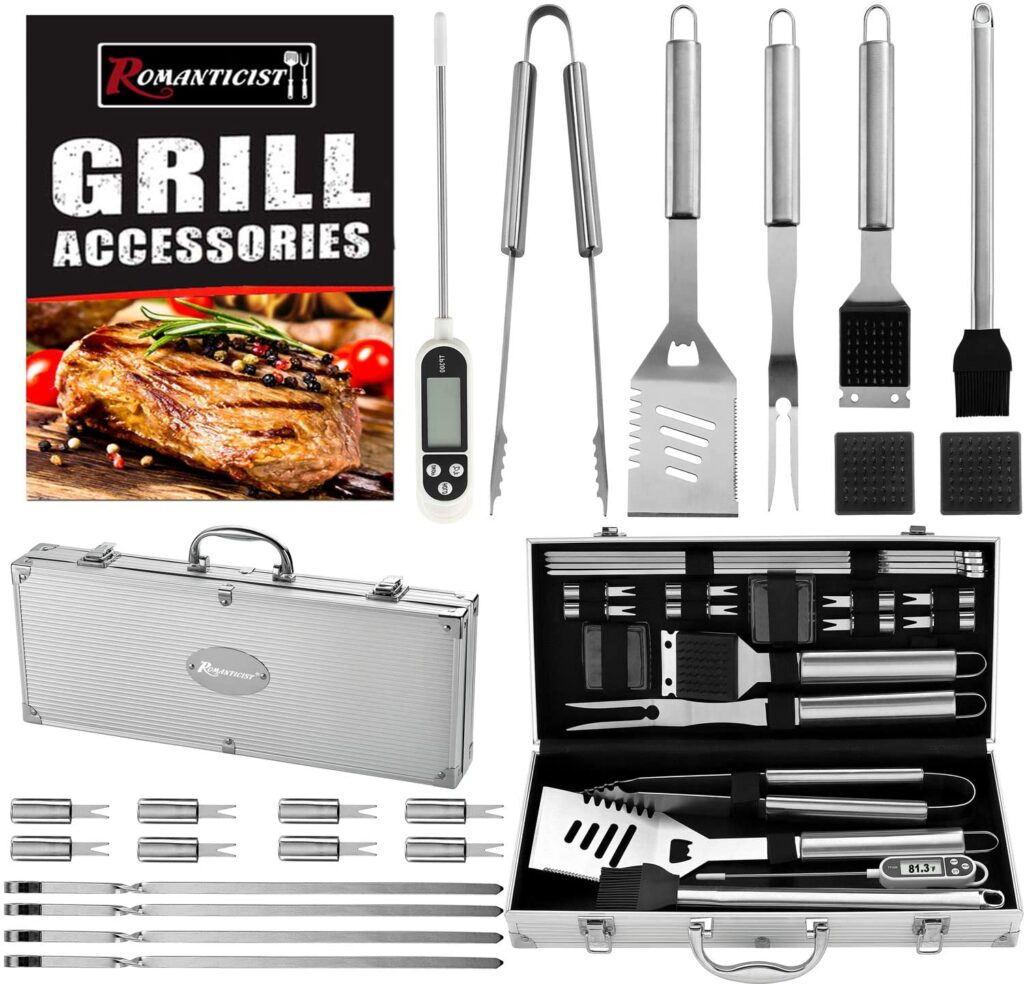 Best Gifts for Foodies, Cooks and Foodstagrammers- Romanticist Heavy Duty Stainless Steel BBQ Tool Set Kit