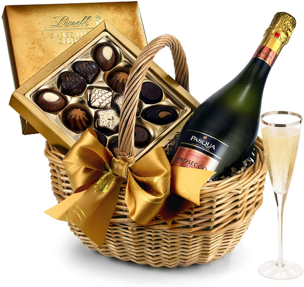 Wine & Chocolates Gift Basket With Prosecco - Hand Wrapped Gourmet Food Basket, in Gift Hamper Box