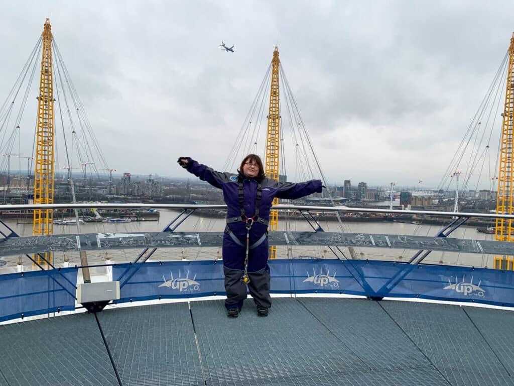 Lisa at the top of Up at the O2