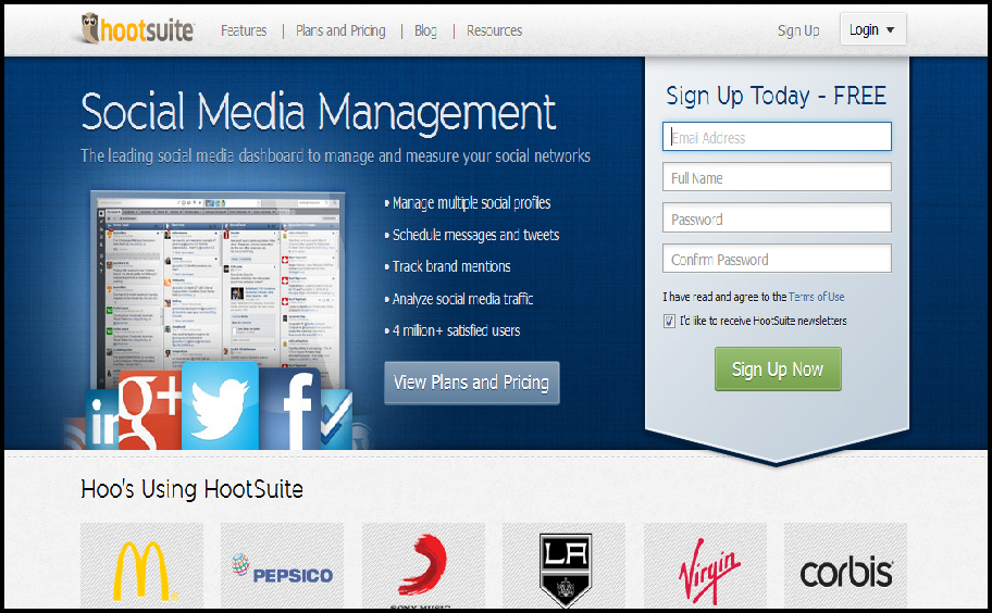 HootSuite Homepage Review