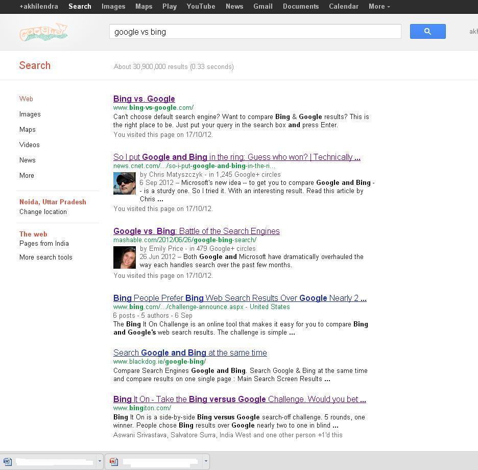 Google search result for Google Vs Bing