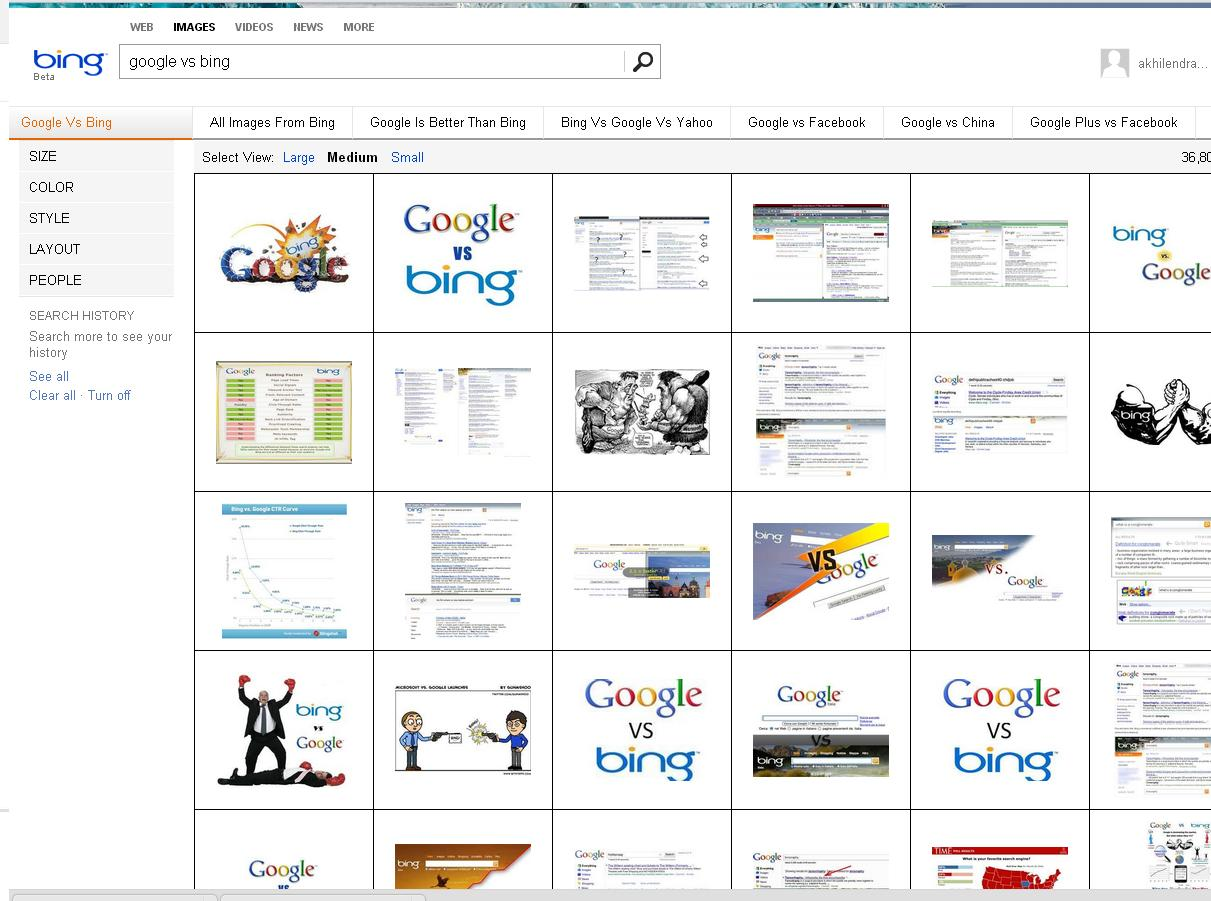 Bing Search Result for Google Vs Bing