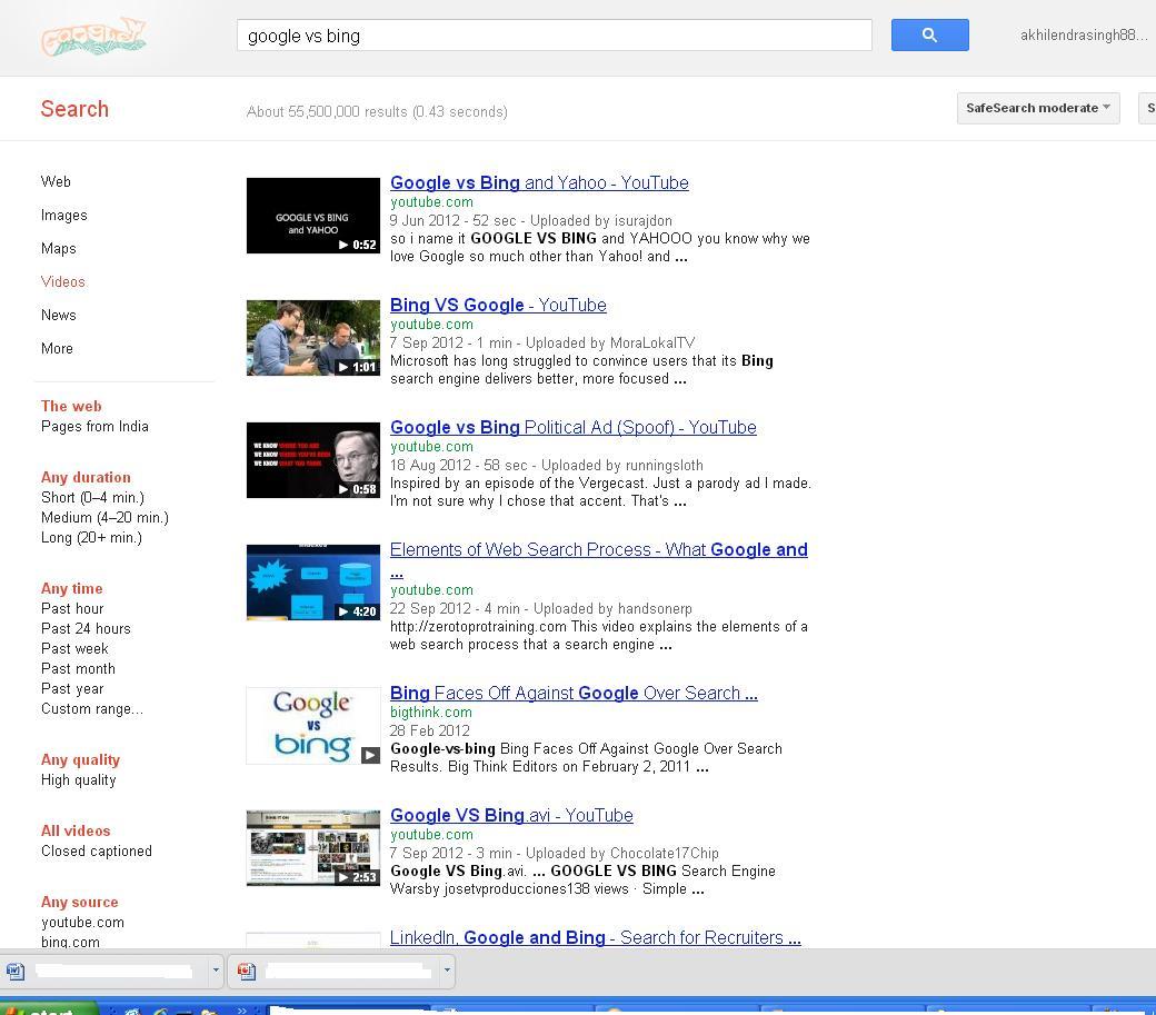 Bing Vs Google Video Search