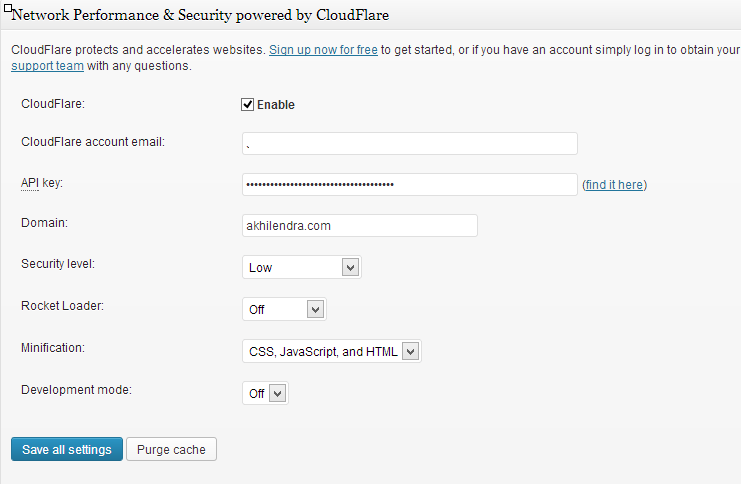 cloudflare settings in w3 total cache