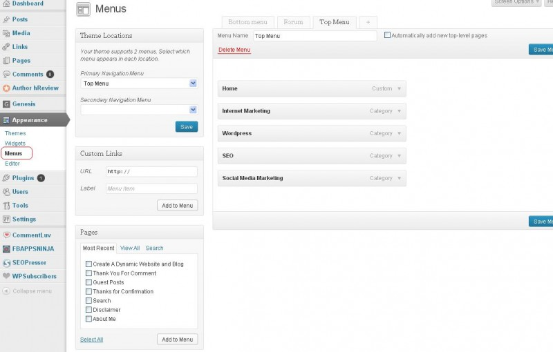 custom wordpress navigation menu