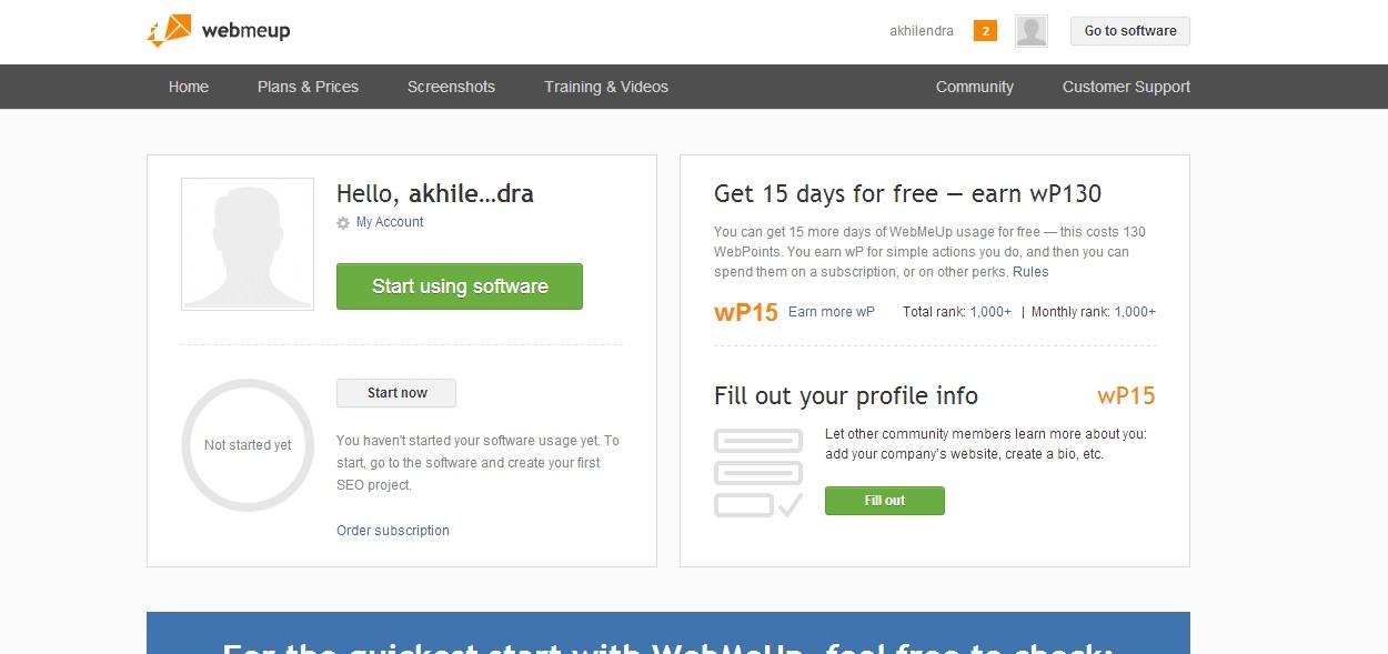webmeup homepage