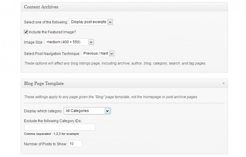 Blog settings in studiopress themes