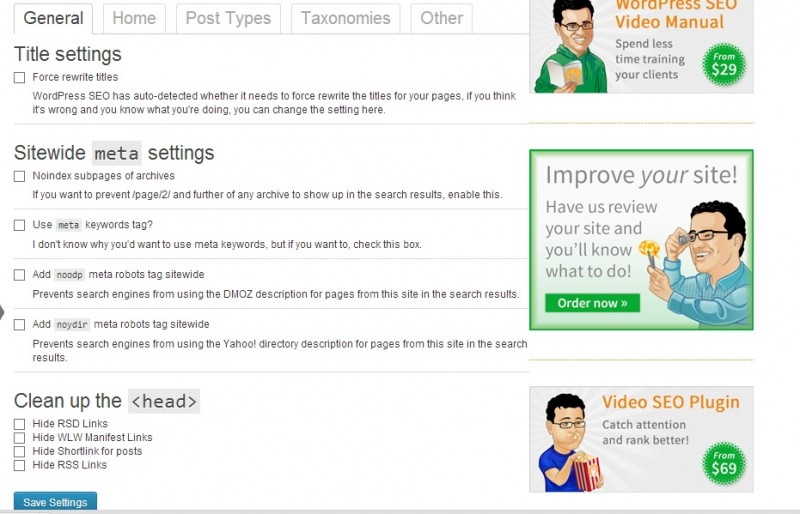general settings in wordpress seo by yoast