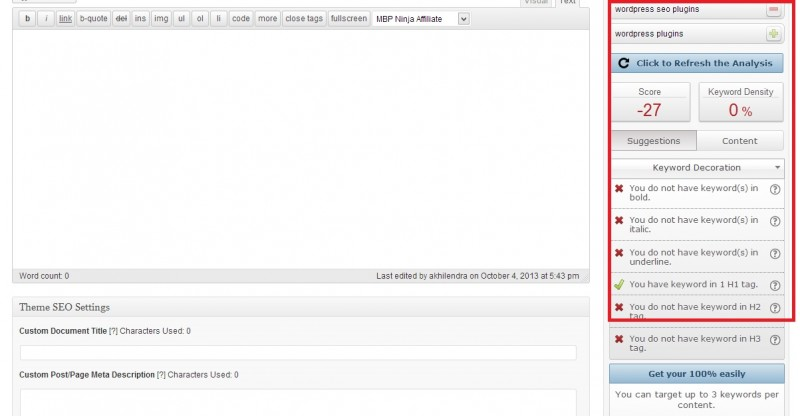 seopressor wp on page seo settings