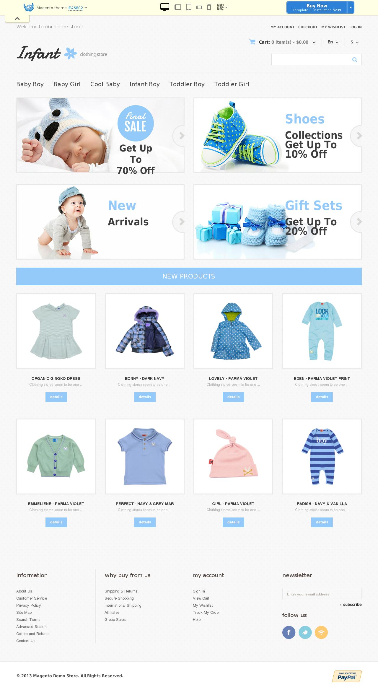 Infant Clothing Magento Theme #46802