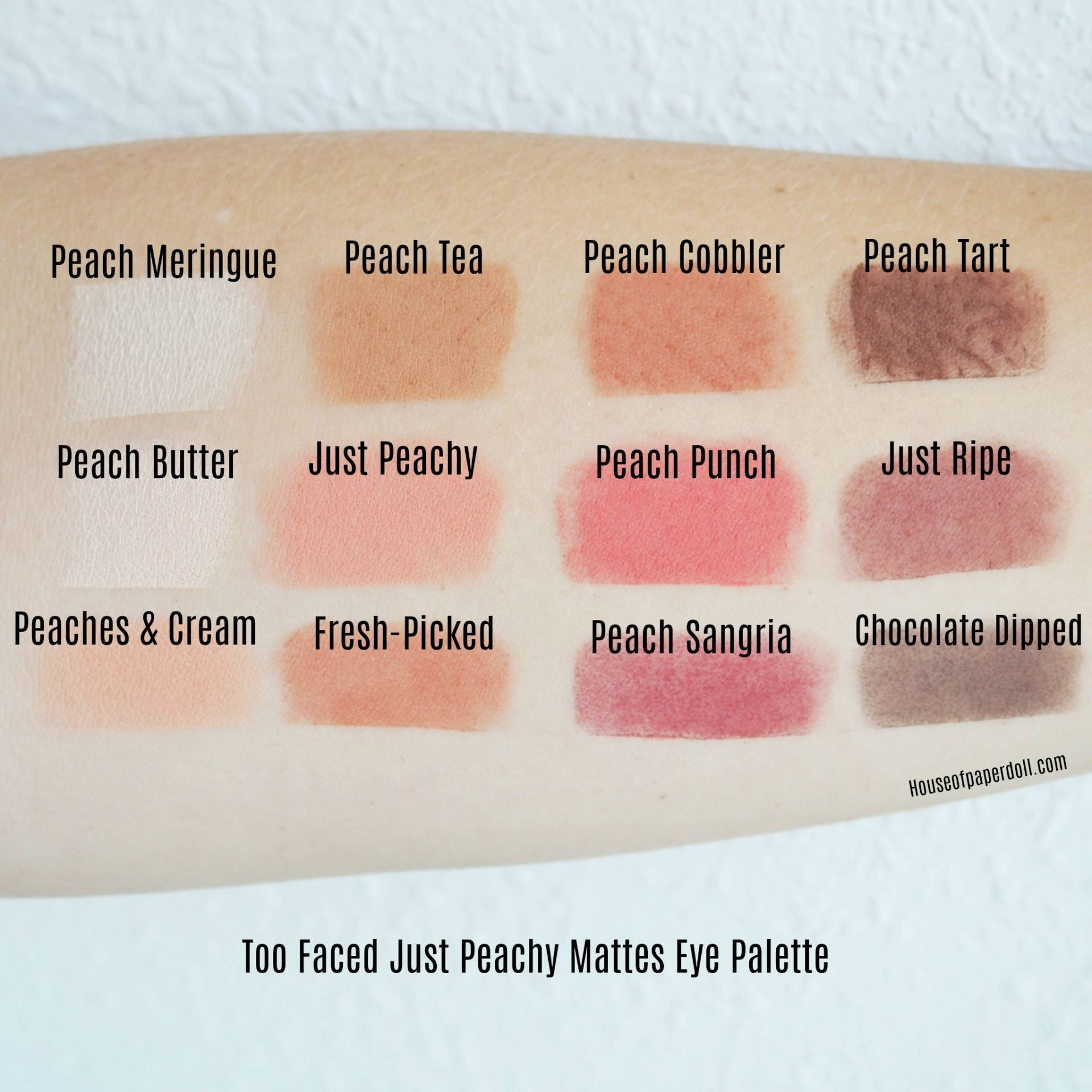 Too Faced Just Peachy Mattes Swatches