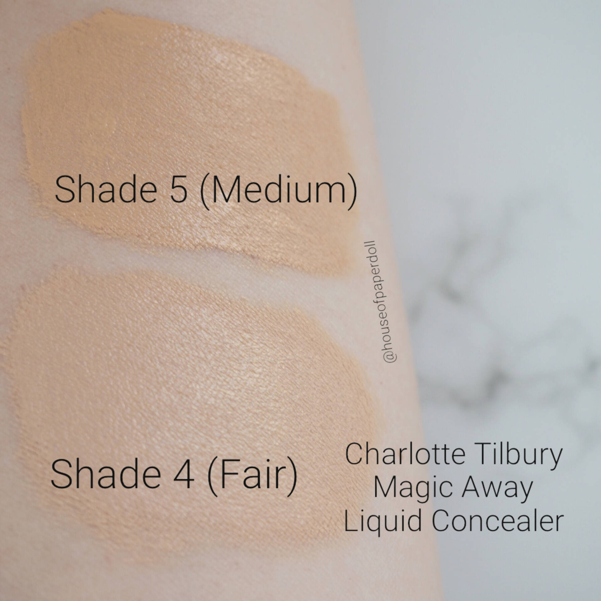 Charlotte Tilbury Magic Away Liquid Concealer Swatches