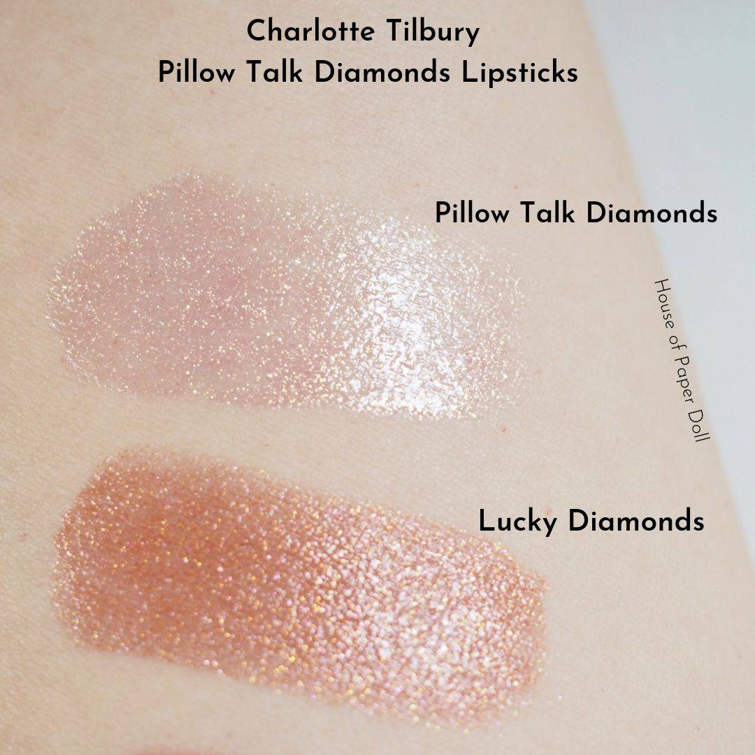 Charlotte Tilbury Pillow Talk Diamonds Lipsticks Swatches and Review