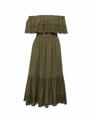 Dorothy Perkins Khaki Off the shoulder Dress