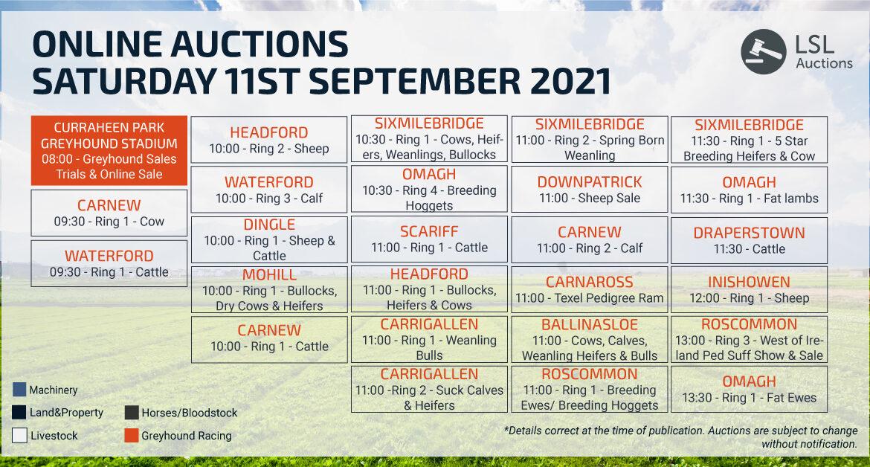 Online Auctions - Saturday Calendar 10/09/2021
