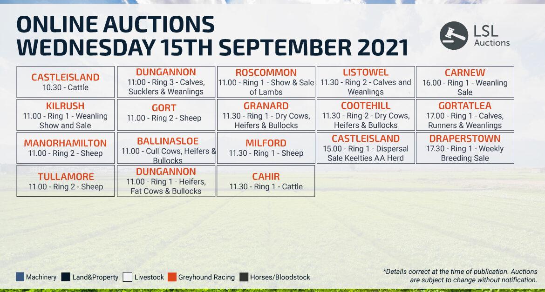 Online Auctions – Wednesday Calendar 15/09/2021