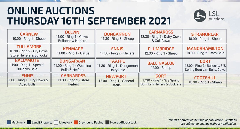 Online Auctions – Thursday Calendar 16/09/2021