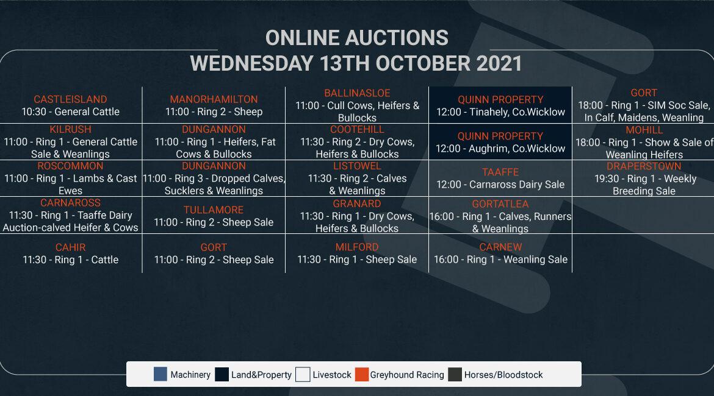 Online Auctions – Wednesday's Calendar 13/10/2021