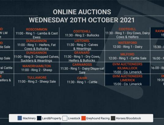Online Auctions – Wednesday's Calendar 20/10/2021