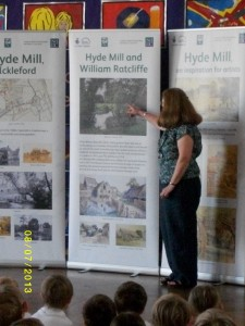 At Ickleford School last month, with our excellent pop-up panels (thanks to the HLF)