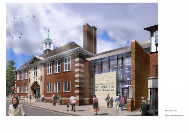 View of the entrance to the new North Herts. Museum