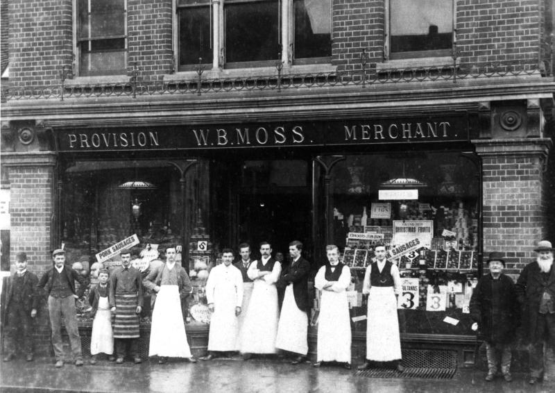 William B Moss's grocers, 13 High Street, Hitchin, late 1890s