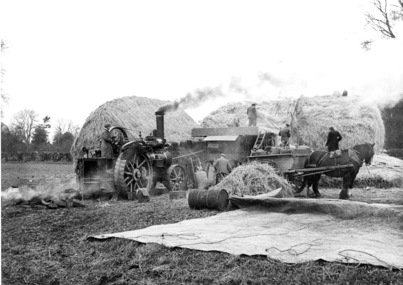 Steam threshing in Charlton, 1942