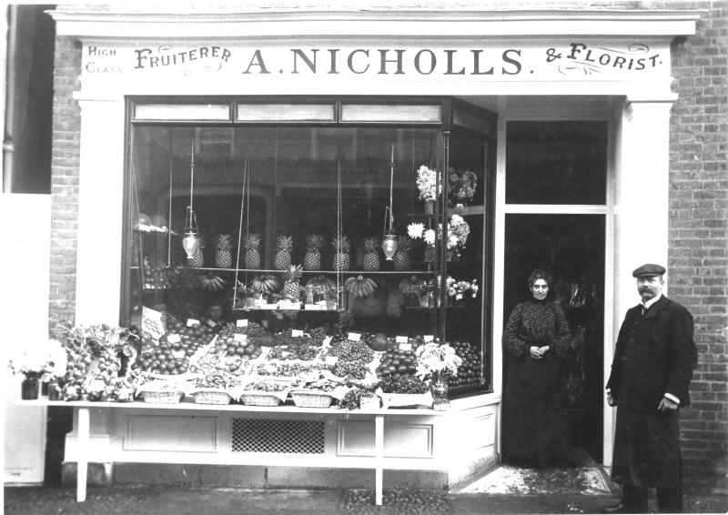 A Nicholls, High Class Fruiterer and Florist, Hitchin, about 1900