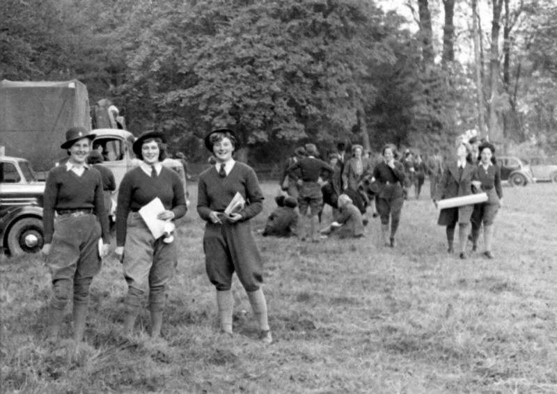 Land Army women working on woodland in the countryside outside Hexton. They were involved in stripping the bark from trees that were felled for pit props. The Women's Land Army was not disbanded at the end of the Second World War as there were delays in returning men from Europe. The operation was finally closed in November 1950.