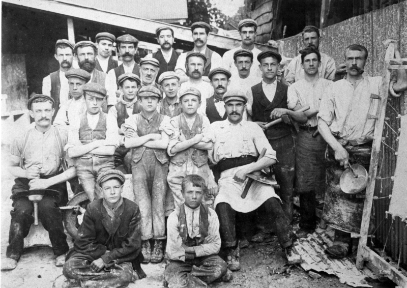 Russell's Tannery workers, Bancroft, Hitchin, 1890s