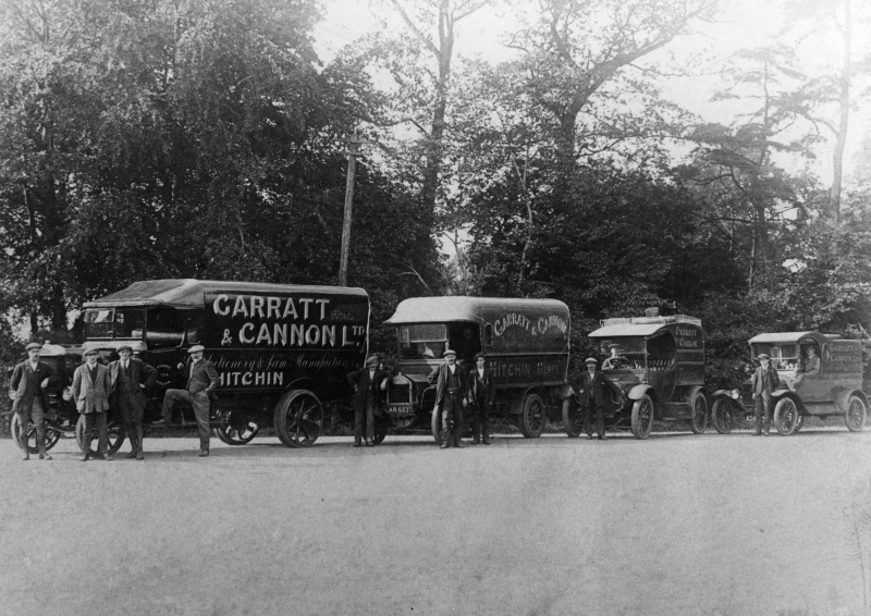 Garratt and Cannon Ltd. was a sweet and jam manufacturer, based at 92 Bancroft and with a shop, The Smoker's Stores, in Churchyard. This view shows the company's fleet of lorries.