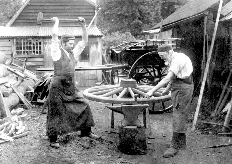 Men of the Wilson family of Breachwood Green were wheelwrights, operating from premises on Lower Road. The picture shows father Samuel (1825-1910) and son William (1865-1957).