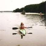 A young Joanne canoeing in Sandy Haven creek