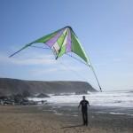 Matt kite flying at Marloes Sands