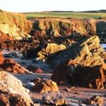The pink Devonin rocks at Sandy Haven