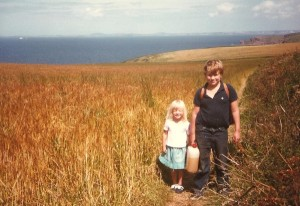 Joanne and her big brother Peter carrying the bottle of orange juice to Musslewick beach
