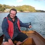 Pete steering the boat