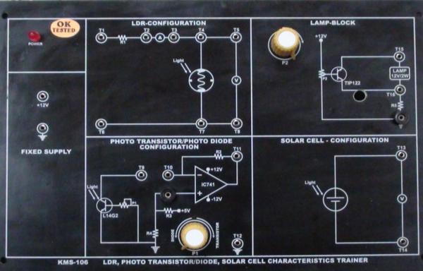 LDRs, Photodiodes, Photo-Transistors & Solar Cell Characteristics Trainer Model ETR 024