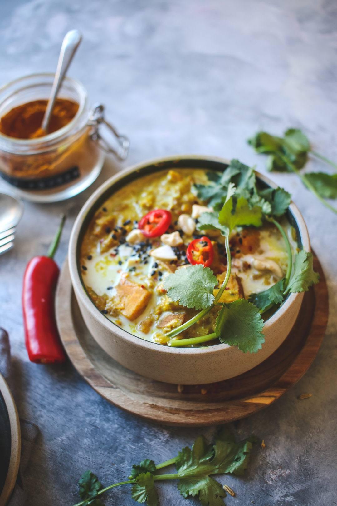 vegan sweet potato and peanut dal recipe