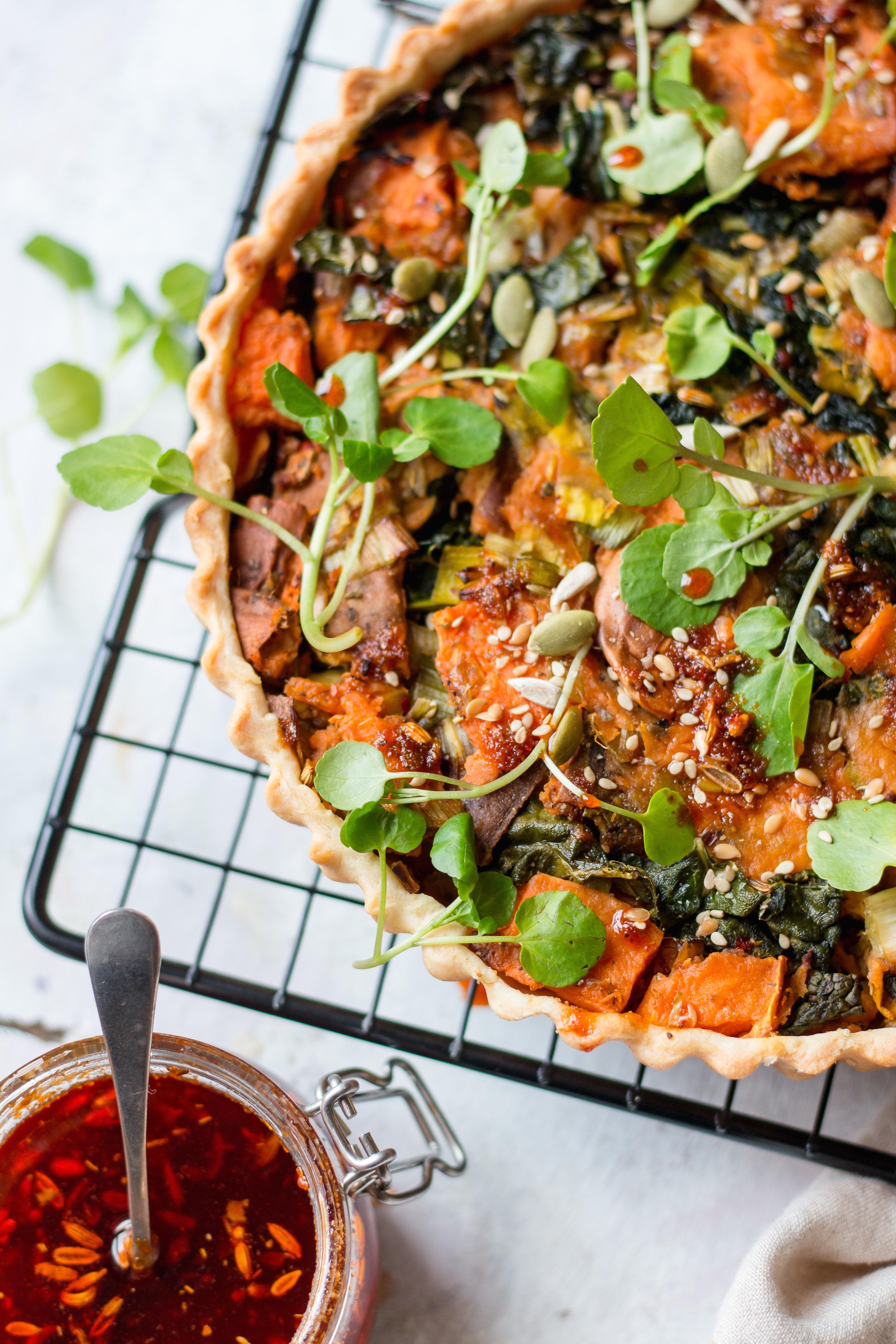 vegan leek and butternut tart