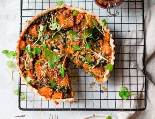 vegan leek and sweet potato tart